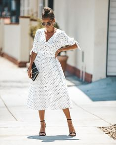 Polka Dot Valley Pocketed Button Down Dress - FLASH SALE