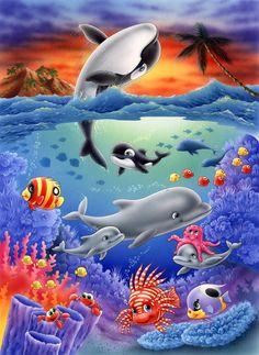 Sea Life Art, Sea Art, Sea Animals Images, Dolphin Art, Underwater Art, Quilled Creations, Water Animals, Ocean Creatures, Under The Sea