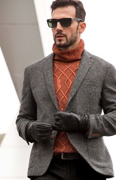 Men's Black and White Tweed Blazer, Tobacco Knit Turtleneck, Black Chinos, Dark Brown Leather Belt Mens Fashion Sweaters, Mens Fashion Suits, Sweater Fashion, Men Sweater, Men's Fashion, Fashion Menswear, Stylish Menswear, Style Costume Homme, Pullover Mode