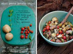 Mint Pesto Potato Salad: amazing.  Tastes like summer.  New favorite potato salad recipe.