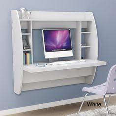 Broadway Black Floating Desk with Storage | Overstock.com - Ashie's room