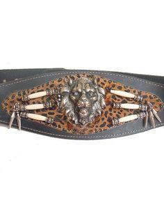90s french BELT LION  HEAD corset leopard by lesclodettes on Etsy, $59.00