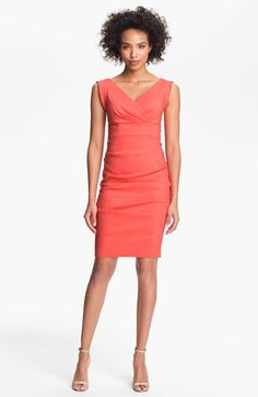 Nicole Miller Ruched Surplice Sheath Dress available at #Nordstrom  color is terra cotta.  hmmmm