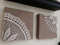 Burlap and doily wall art
