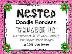 """Clip Art: Nested Doodle Borders/Frames """"Squared Up"""" (Personal and Commercial Use)"""