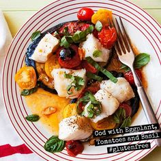 Cod with Eggplant, Tomatoes and Basil #glutenfree