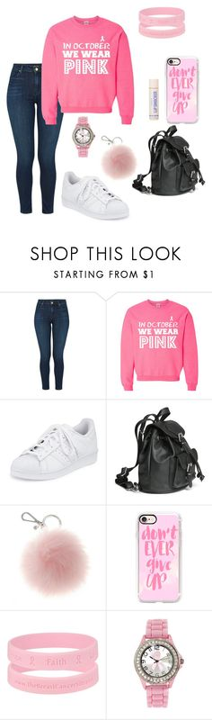 """""""Support Breast Cancer"""" by juleann1016 ❤ liked on Polyvore featuring J Brand, adidas and Casetify"""
