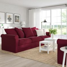 GRÖNLID sofa, Ljungen dark red, Height including back cushions: 104 cm - IKEA Red Couch Living Room, New Living Room, Red Living Room Decor, Burgundy Couch, Burgundy Living Room, Ikea Bank, Deep Seat Cushions, Ikea Family, Large Sofa