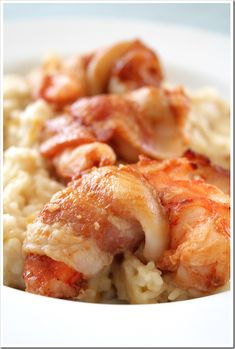 Island Shrimp and Grits ~ Made with chunks of pineapple and mango and a splash of rum for good measure  | Doughmesstic