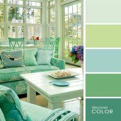 Farbkombination Pastelltöne mit verschiedenen Grüntönen