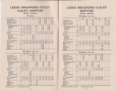British Railways - Leeds - Bradford - Otley - Ilkley - Skipton train timetable Train Timetable, Bolton Abbey, Heritage Railway, British, Leeds Bradford, January