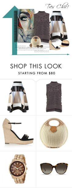 """""""Straw and Circles"""" by michelletheaflack ❤ liked on Polyvore featuring Hussein Bazaza, French Connection, Gucci, Michael Kors, Linda Farrow, Federica Moretti and turtleneck"""