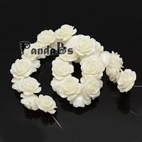 Rose Flower Resin Beads, Dyed, White, 18x10mm, Hole: 1mm
