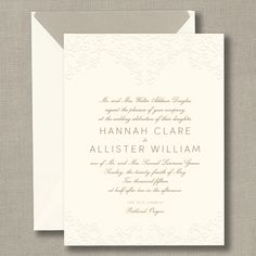 Ecru Embossed Arbor Wedding Invitations with French Flap Envelopes