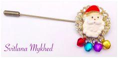 Broche Fibule Père Noel grelots paillettes multicolore : Broche par perles-et-couronnes