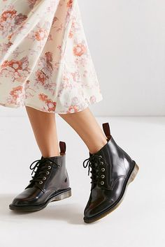 Martens Emmeline Lace-Up Boot Red Boots, Lace Up Boots, Dr Martens Emmeline, Dr Martens Outfit, Combat Boots, Ankle Boots, Goodyear Welt, W 6, Dr. Martens
