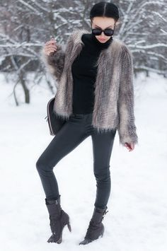 Faux fur jacket and vegan leather pants