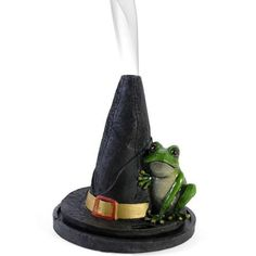 Witch Hat Incense Cone Burner With Frog