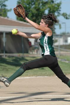 This softball guide introduces two of the most important aspects of pitching: Drive and forward momentum. Centered on the mound, these drills will focus the pitcher. Softball Crafts, Softball Bows, Softball Coach, Softball Shirts, Girls Softball, Fastpitch Softball, Softball Players, Softball Stuff, Baseball Mom