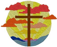 Cross at Sunrise Embroidery Design