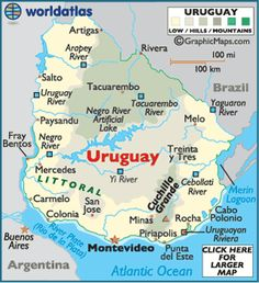 Map of Uruguay - Montevideo, South American Countries, Uruguay Map Facts History - World Atlas.smooth and undulating Trinidad Y Tobago, South American Countries, Argentine, Thinking Day, South America Travel, Central America, Continents, Vacation, Country