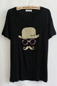 Black Moustache  T-shirt #funky #cool #tshirt #fashion