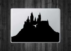 """Hogwarts Castle - School of Witchcraft and Wizardry Inspired Vinyl Decal with """"Glowing"""" Hedwig for Macbook Laptops and More! Macbook Laptop, Macbook Decal, Hedwig, Hogwarts, Castle School, Apple Logo, Witchcraft, Different Colors, Vinyl Decals"""