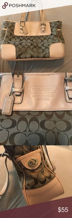 Coach Purse!! GREAT CONDITION Tan and leather coach purse. Like new. Carried a few times and is now ready for a new home. This was my great aunts purse, and she bought t brand new, hated it, so she gave it to me. Make me an offer! Coach Bags Shoulder Bags