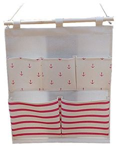 lifeast Leinen/Baumwolle Fabric Wall Tür zum Aufhängen von Kleidung Aufbewahrungstasche Organizer 8Taschen rote streifen