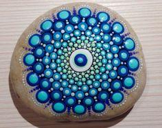Dot Art Mandala Painted Stone White Gift by CreateAndCherish