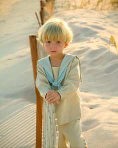 This design is available for custom orders. Each set will be unique due to its handmade qualities. Vintage inspired sailor outfit in oatmeal and blue linen with pull over shirt with front placket, large traditional Big Boys, Cute Boys, Little Boys, Cute Babies, Beach Babies, Precious Children, Beautiful Children, Beautiful Babies, Sailor Outfits