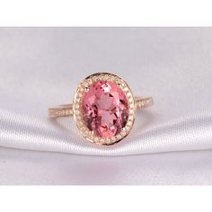 2.1ctw Oval Pink Tourmaline and Diamond Engagement Ring 14K Rose Gold Halo