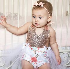a73e57f40007 Rose Gold Sequin Floral Romper   Baby Romper   Romper Floral Romper