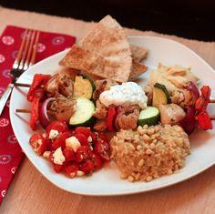 Chicken Souvlaki Dinner with Tzatziki and Tomato Feta Salad