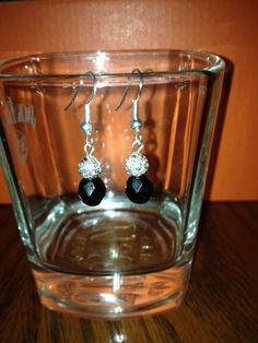 Black Czech Faceted Glass Bead with Silver by BikeronCrafts, £3.00