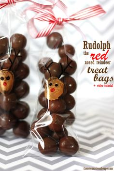 DIY Rudolph the Red Nosed Reindeer cello treat bags ~ fun and creative Christmas kids craft with thecelebrationshoppe.com