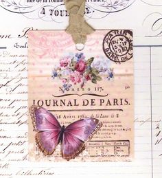 Butterfly Tags  Gift Tags   Vintage French   by by Bluebirdlane, $6.00