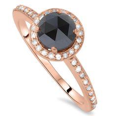 Prsteň z ružového zlata s čiernym diamantom Safia
