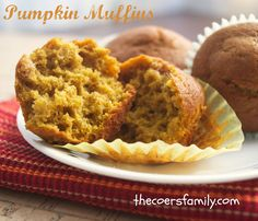 Homemade pumpkin muffins - I made this with fresh, homemade pumpkin purée and whole wheat flour. They are so good! Not necessarily healthy but so good!