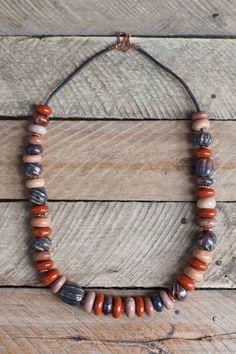 Купить бусы керамика в стиле Лофт (2) - коричневый, лофт, краски осени, бусы керамика
