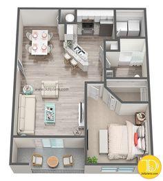 1 Schlafzimmer Plan - Multifamily Floor Plans - 1 bedroom plan The cost . 2 Bedroom Apartment Floor Plan, Studio Apartment Floor Plans, One Bedroom House, Bedroom Floor Plans, Bedroom Bar, Basement Floor Plans, Small Apartment Layout, Studio Floor Plans, Small Apartment Plans