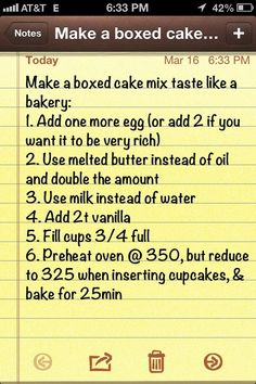 Make a boxed cake mix taste like a bakery cake..I like the simplicity of this pin better than the older one I have.