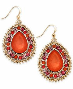 Style&co. Gold-Tone Coral Cabochon Teardrop Earrings