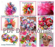On Sale Bundle Discount - Hair Accessories - Make Hair Bows, Tutus, Ribbon Flowers Tutorials (10 eBooks) DIY Hair Bows