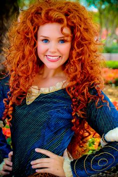 Princess Merida at Disney World! How did they find a girl with the exact hair!? I don't think it's a wig...
