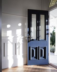 What a beautiful way to start the day, with sun streaming in through the front door of our Mornington project. Exterior Doors With Sidelights, Front Doors, Kate Walker, Entry Foyer, Start The Day, Windows And Doors, Mudroom, House Colors, Yard