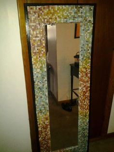 mosaic mirror from mosaic tiles basic mirror and flat wood behind it