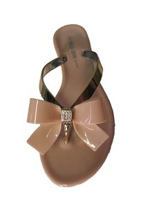 6ff04216af1d45 Joanie-05 Jelly Bow Thong Flat Sandal     Additional details at the pin