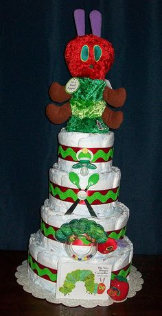 5-tier Very Hungry Caterpillar Diaper Cake made for very good friends.