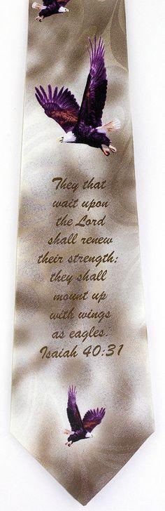 Wings As Eagles Mens Necktie Isaiah 40:31 Christian Religious Gift Him Tie New #StevenHarris #NeckTie